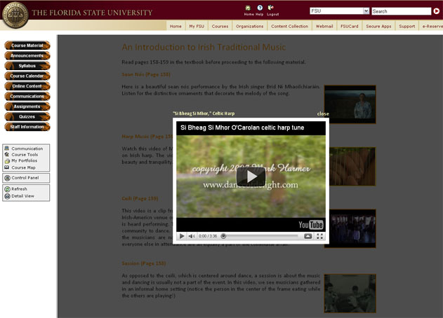 Embedded media in the online course